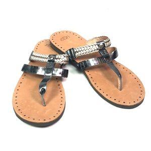 UGG Audra Silver Thong Flip Flops Size 10